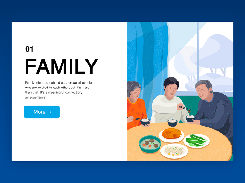 Family supper lunch father mother family meal illustration