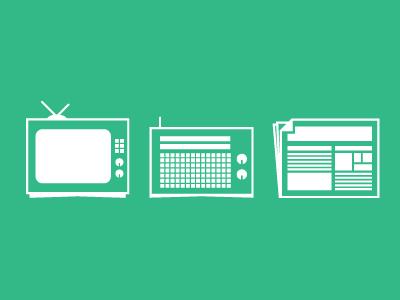 Communication Icons tv radio print
