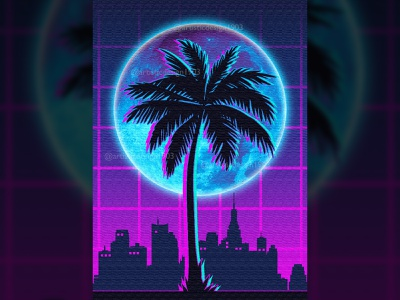 Palm Tree neon light blue pink mancave cityscape outrun popular best trending trend silhouette minimalist cyberpunk 2077 nature 1980s 80s synthwave poster retrowave retro