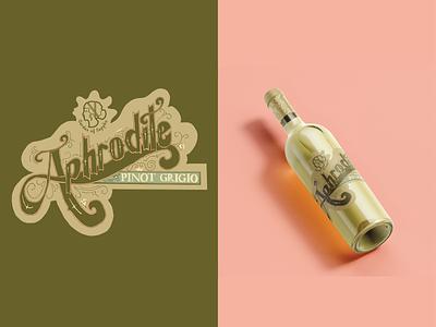 Garden of Sappho: Aphrodite Pinot Grigio vintage design hand rendered type handlettering lettering packaging package design winelogo winelabel mockup branding logo design typography