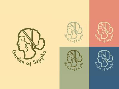Garden of Sappho Logo lesbian sapphic sappho typogaphy greek god greek aphrodite athena logo design vector logo branding design