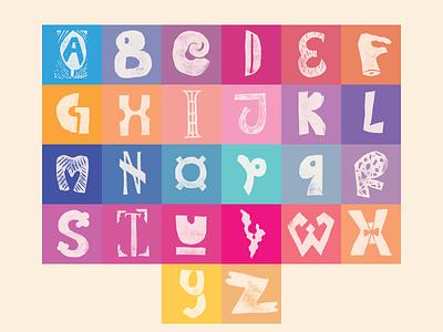 Linocut Alphabet gradient alphabet printmaking linocut handlettering lettering