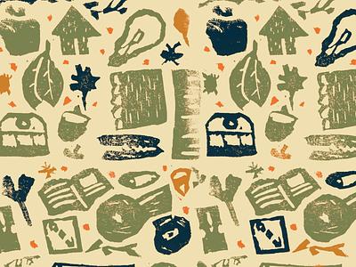 ISPY Linocut Pattern design autumn fall illustration linoleum linoprint linocut pattern pattern design