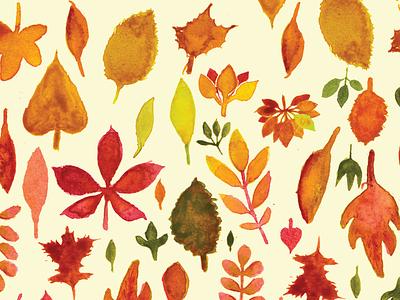 Watercolor Leaf Pattern textile pattern textile design print textile print surface design painting illustration autumn fall watercolor pattern design pattern