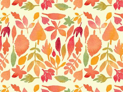 Autumn Watercolor Leaf Pattern 2 leaves seasonal fabric design surface design textile design textile pattern textile pattern art fashion fall autumn illustration pattern pattern design