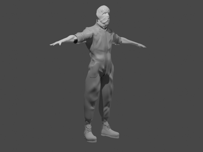 full character with skimask and overalls full logo blender speed sketch illustration design sculpt character 3d artist overall skimask full character