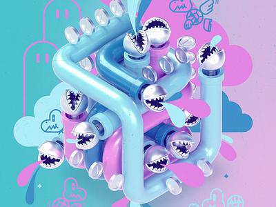 PipeDream 1 + 2 art cute photoshop design nintendo modo 3d character datamouth illustration