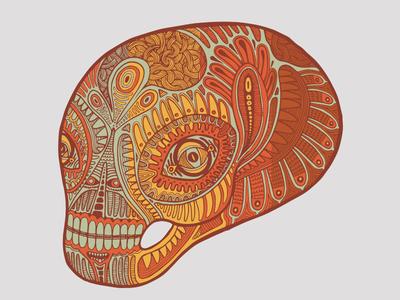 Layered Skull skull skeleton smile grin alien tribal pattern illustration datamouth