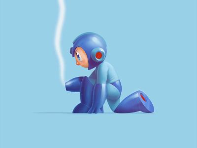 Blue Bomber + MIghty Atom nintendo datamouth art character cute procreate photoshop illustration
