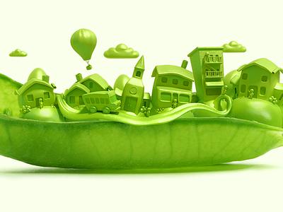 Pea Pod City illustration photoshop modo city pea