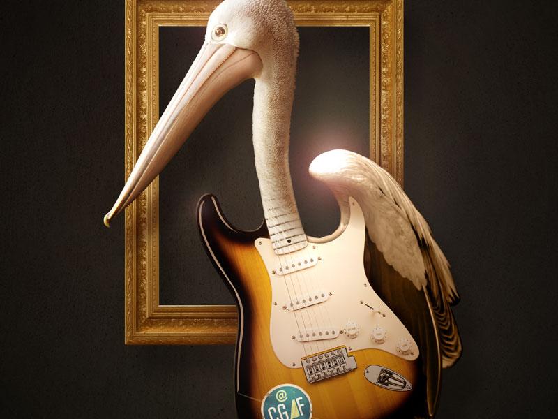 Coconut Grove Arts Festival Pelican Guitar guitar bird illustration photoshop