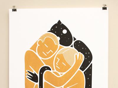 Cubic embrace ~ golden galaxy ~ silkscreen prints silkscreen print datamouth art gold cube cubic devil man woman