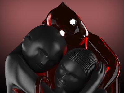cubic embrace ~ crimson nights cube datamouth night black dark blood devil hug modo 3d model