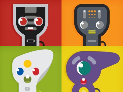 Controllers - NES, TG16, XBOX, GC nintendo xbox turbografx gamecube datamouth character illustration