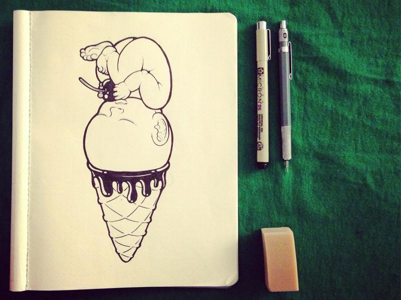 vanilla baby ~ original sketch vanilla baby art illustration cute sketch datamouth