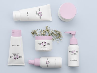 Pure Rose- natural cosmetic natural logotype graphic design creative identity branding identity design skincare cosmetic packaging design packaging design watercolor logo logo branding design branding and identity natural cosmetics