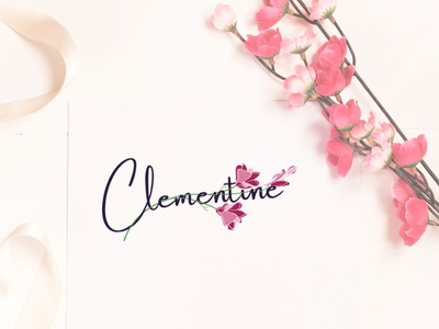 Clementine intertwine text flowershop illustration flower flower illustration flower logo wordmark intertwined textlogodesign design identity design idea creative logomark logo design logo