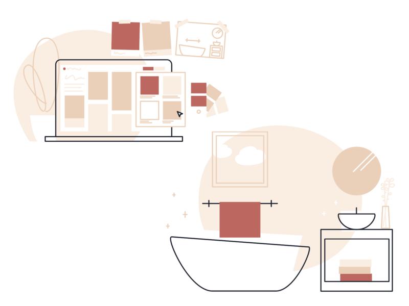 Remodelmate Illu design bathroom reconstruction remodel lineart vector minimal drawing egotreep illustration