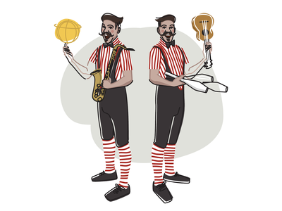 🏀🎷🤹🏽 The Twins Trip 🤹🏽🎸🎳 twins artists musicians performers circus lineart character drawing vector illustration