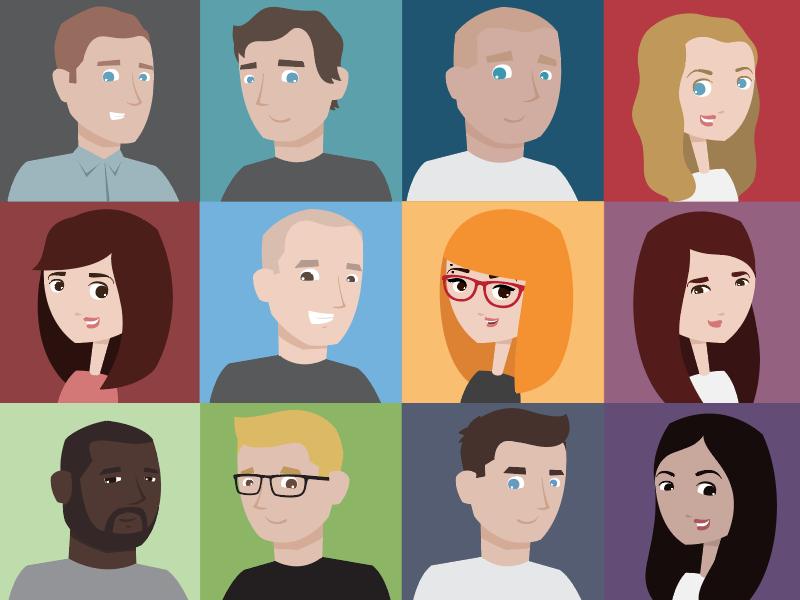 Super Team Avatars cartoon portrait vector illustration custom avatar team super