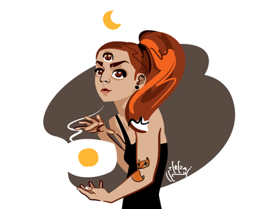 La Zorra Lunar 🦊🌘 waning crescent esoteric occult third eye witch magic sun moon girl fox self illustration self portrait drawing character vector illustration egotreep