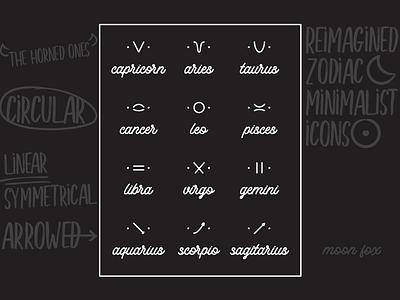 🌙 Moon Fox Zodiacs ☀️ mooncake moon phases design pictogram iconography icon reimagined minimal redesign astrology zodiac signs zodiac moon fox egotreep
