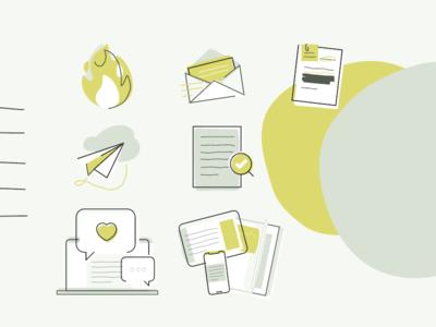 Pressland Illustration chain supply transparency media news publishing lineart drawing vector icon illustration egotreep