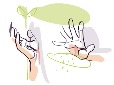 🌱 Nurturing ✋ art hands holistic natural growth nurture hand vector drawing illustration egotreep