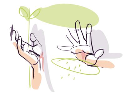 🌱 Nurturing ✋ art hands holistic natural growth nurture hand vector drawing illustration egotreep