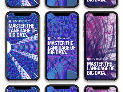 DePaul Big Data Campaign out of home digital art direction advertising campaign advertising agency color color pallet data visualization data viz design big data advertising