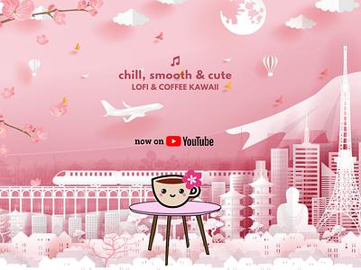 Coffee Kawaii Brewing Company - YouTube channel art lofi coffee youtube channel branding