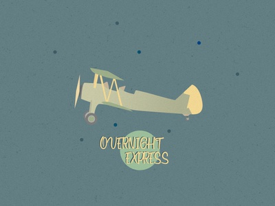 Overnight Express illustration vintage flight plane