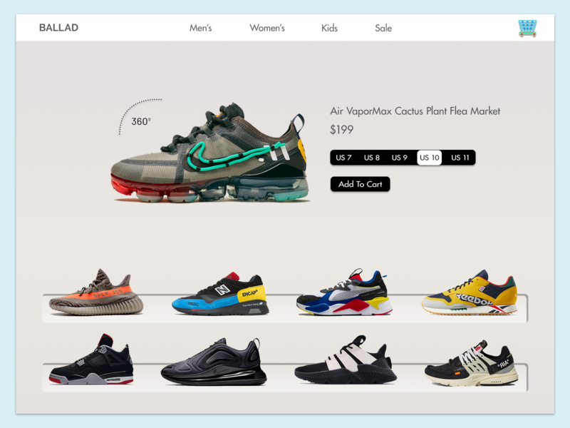 Ballad - e-commerce shop concept ui fashion concept product page store shop sneakers ux ui clean ui interaction innovative creative minimal ecommerce