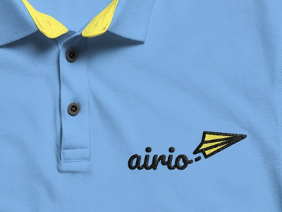 Airio Logo on Polo Shirt illustrator design flat simple logodesign dailylogo paperairplane mockup polo shirt polo branding airio yellow dailylogochallenge blue