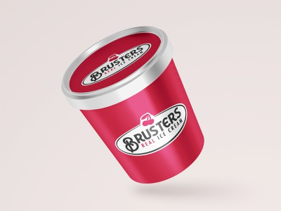 Brusters Rebrand - Pint Mock Up illustration design icecream dailylogochallenge logo icon flat simple logodesign illustrator branding brusters