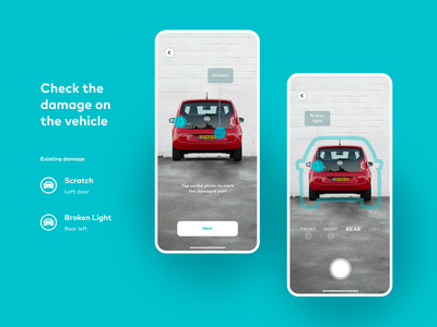 Carsharing Service — Damage Check reports and data exploration concept interaction design rental app electric car carsharing automotive camera ui ux