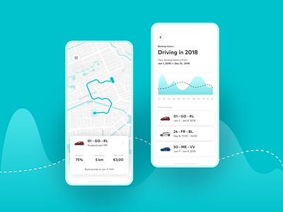 Carsharing service — Driving Stats statistics concept mapbox driving rental app dataviz electric car automotive information design infographics data visualization ui ux