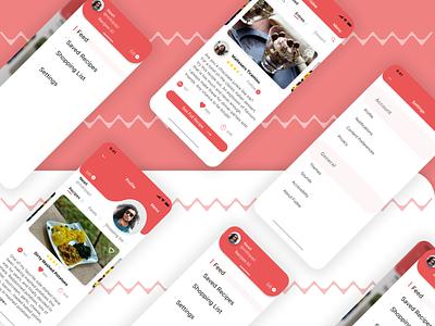 Füdee mobile app design appdesign app menuoverlay settings userprofile food and drink foodie recipe app recipes fictional ux ui design
