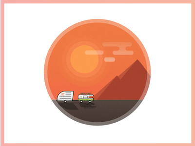On the road gradient shadows illustrations road truck mountains clouds orange sun