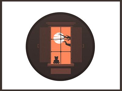 Bear on the window sun window orange brown illustrator illustraion