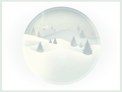 Winter cottage trees white illustrator illustration snow winter