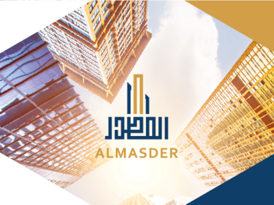 Al Masder Real Estate Brand Identity stationary brand concept buildings shadows banner ads sun vector orange illustrator corporate identity branding concept branding blue typography logo design illustration