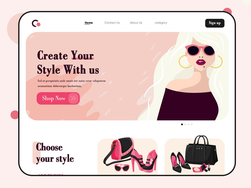 Shop Women's Latest Trend Web Page ecommerce shop choose your style web webdesign landing page uiuxdesign ecommerce business ecommerce design website design webdesigner clean  creative modern design branding