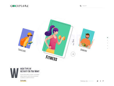 Go-explore: Near by Activity webdesign website concept dinning shopping fitness nearby activity after effects animation website design landing page webdesigner clean  creative clean modern design branding