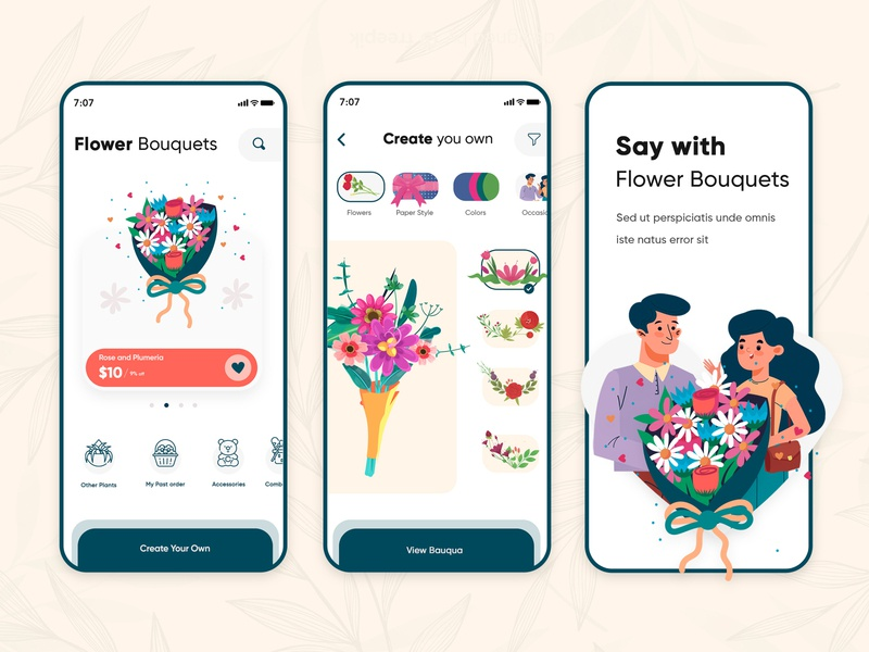 Flower Bouquet app designer flowers delivery india flowers delivery india branding design create your own flower flower illustration mobile app design app design clean clean  creative modern design branding