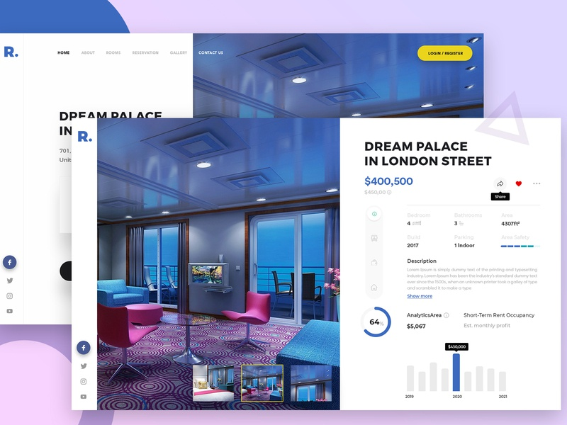 Dream Palace: website product designs website after effect decription page dream palace aftereffects uiuxdesign uidesign website design webdesigner landing page clean clean  creative modern design branding
