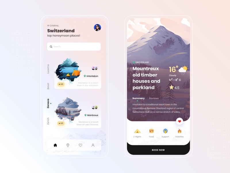 Switzerland Travel Guide: App Design 2020 figmadesign figma android app design ios app design mobile app design concept design ux design user interface switzerland trendy design travel app travel agency tour agency agency app app design dribbble best shot 2020 design 2020 trends