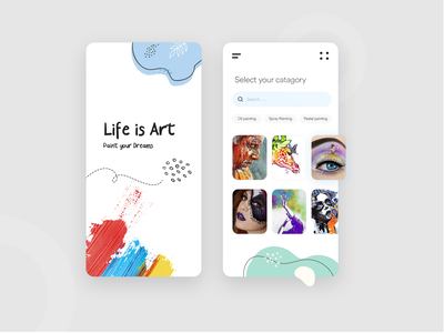 Paint Your Dreams App Design ios android designer mobile app design 2020 painting brushes painted 2020design 2020 trends app design painting paint clean modern clean  creative design branding