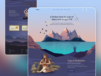 Yoga and Meditation Website: Landing Page meditation website yoga website webdesign latest design website concept 2020 design 2020 trends yoga and meditation website meditation yoga uiuxdesign webdesigner website design landing page clean modern design clean  creative branding