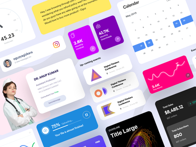 Dashboard Elements: Dashboard Component designs dashboard elements dashboard components sales uploading graph calender chart status kit dashboard component activity podcast design system